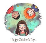 手绘儿童节儿童