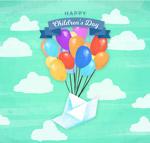 儿童节气球和纸船
