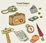 手绘旅行物品