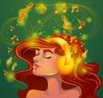 耳机听音乐的女子