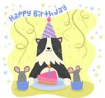 生日猫咪和蛋糕