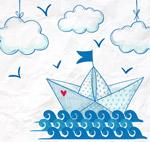 手绘海上的纸船