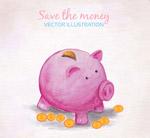 猪存钱罐和金币