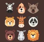 微笑动物头像矢量
