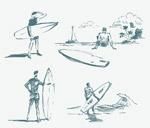 素描冲浪人物