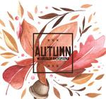 水彩绘秋季落叶