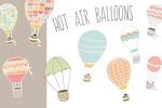 手绘热气球矢量