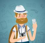 卡通旅行背包男子