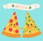 拉手的三角披萨