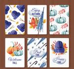 蓝色系秋季卡片