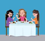 卡通聚餐的女子