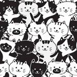 黑白猫无缝背景