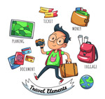 旅游男子和元素