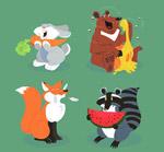 卡通吃食物的动物