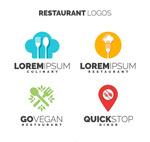 彩色餐馆标志矢量