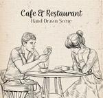 咖啡店用餐的男女