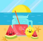 沙滩上的果汁水果