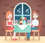 餐厅用餐的男女