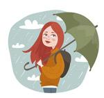 雨中撑伞的女子