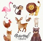 水彩绘动物矢量