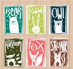 手绘动物和卡片
