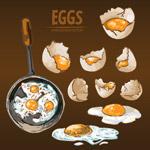 手绘烹饪鸡蛋料理