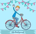 骑单车打招呼男子