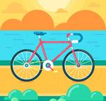 海边的单车矢量
