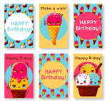 冰淇淋生日卡片