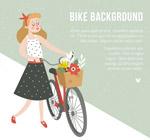 推单车散步的女子