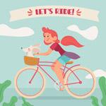 骑单车的女子