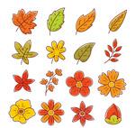 彩绘叶子和花卉