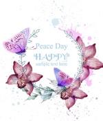 兰花和蝴蝶水彩卡