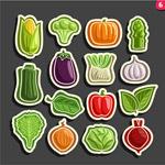 蔬菜贴纸矢量