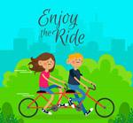 骑双人自行车情侣
