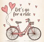 爱心气球和单车