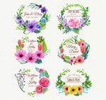 彩绘花卉婚礼标签