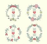 彩色花环婚礼标签
