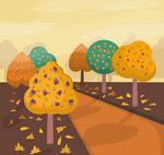 秋季树木道路风景