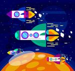 太空中飞行的火箭