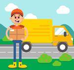 送货车和快递员