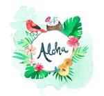 夏威夷花鸟框架