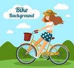 骑单车的长发女子