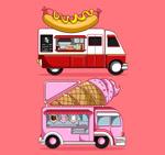 彩绘可移动餐车