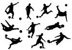 踢足球的人物剪影