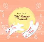 可爱中秋节白兔