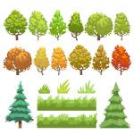 矢量树木和草丛