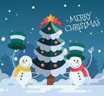 圣诞树和雪人