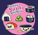 寿司贴纸矢量