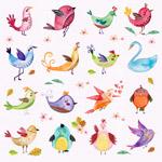 水彩卡通鸟